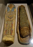 Child's Mummy and Sarcophagus, Egypt, 6th century BC, polychromed sycamore and fig wood, linen, faience beads - Fitchburg Art Museum - DSC08584.JPG