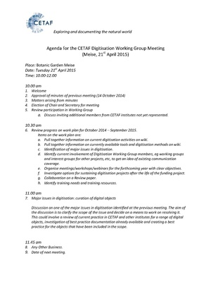 Agenda for the CETAF digitisation working group meeting April 2015