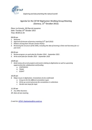 Agenda for the CETAF digitisation working group meeting October 2016