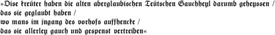 """Fuchs, Ursprung des Pflanzennamens"" in Frakturschrift"