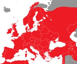 Verbreitung des Buchfinks in Europa - Alice Chodura (CC-BY-SA-3.0)