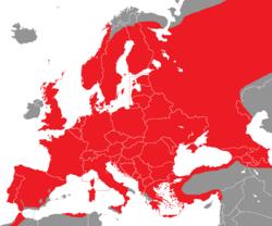 Verbreitung des Buntspechts in Europa - Alice Chodura (CC-BY-SA-3.0)