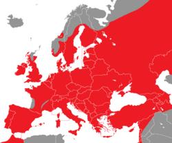 Verbreitung der Dohle in Europa - Alice Chodura (CC-BY-SA-3.0)