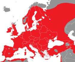 Verbreitung des Eichelhähers in Europa - Alice Chodura (CC-BY-SA-3.0)