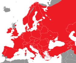 Verbreitung der Elster in Europa - Alice Chodura (CC-BY-SA-3.0)