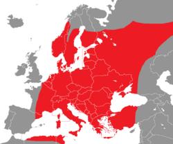 Verbreitung des Gelbspötters in Europa - Alice Chodura (CC-BY-SA-3.0)