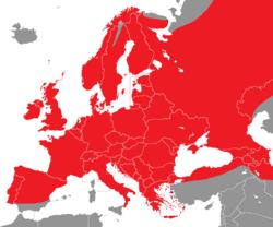 Verbreitung des Gimpels in Europa - Alice Chodura (CC-BY-SA-3.0)