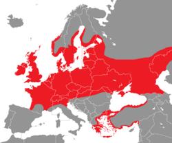 Verbreitung des Höckerschwans in Europa - Alice Chodura (CC-BY-SA-3.0)