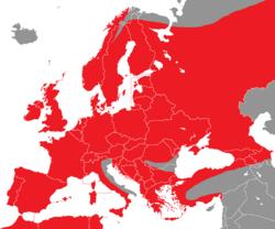 Verbreitung des Habichts in Europa - Alice Chodura (CC-BY-SA-3.0)
