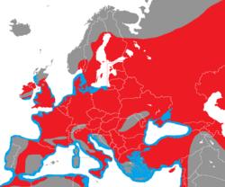 Verbreitung des Haubentauchers in Europa - Alice Chodura (CC-BY-SA-3.0)