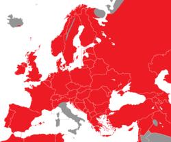 Verbreitung des Haussperlings in Europa - Alice Chodura (CC-BY-SA-3.0)