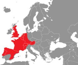 Verbreitung der Aaskrähe in Europa - Alice Chodura (CC-BY-SA-3.0)