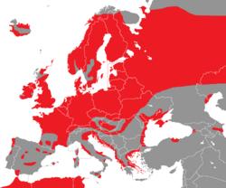 Verbreitung der Reiherente in Europa - Alice Chodura (CC-BY-SA-3.0)