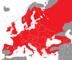 Verbreitung der Tannenmeise in Europa - Alice Chodura (CC BY-SA-3.0)