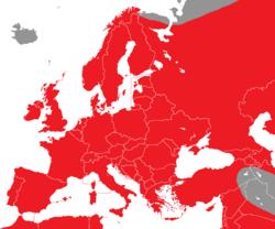 Verbreitung des Turmfalken in Europa - Alice Chodura (CC-BY-SA-3.0)
