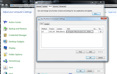 Identifying installed locations of Java through the control panel on Windows 7