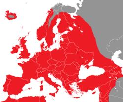 Verbreitung des Zaunkönigs in Europa - Alice Chodura (CC-BY-SA-3.0)