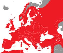 Verbreitung des Zilpzalp in Europa - Alice Chodura (CC-BY-SA-3.0)