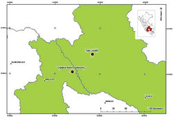 Figure 5. Map showing the type locality and the second site of occurrence (Cajadela Native Community) for Potamites montanicola.