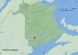 Map 1. Collection localities in New Brunswick, Canada of Acritus exiguus.