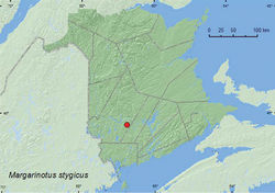 Map 18. Collection localities in New Brunswick, Canada of Margarinotus stygicus.