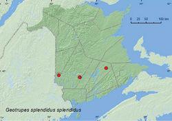 Map 2. Collection localities in New Brunswick, Canada of Geotrupes splendidus splendidus.
