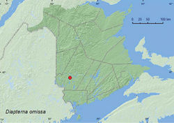 Map 7. Collection localities in New Brunswick, Canada of Diapterna omissa.