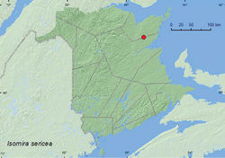 Map 6. Collection localities in New Brunswick, Canada of Isomira sericea.