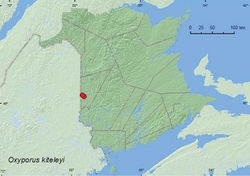 Map 3. Collection localities in New Brunswick, Canada of Oxyporus kiteleyi.