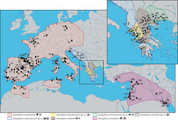 Figure 1. Map showing the sampling localities of Atyaephyra and the geographic distribution of the genus in Europe, Middle East and North Africa. Numbers 1–122, next to a solid symbol, indicate the different rivers, lakes or barrages from where samples were collected. Letters a–d, next to an open symbol, represent localities reported in the published sources of sequences. The symbols correspond to different Atyaephyra species. Question marks indicate station's unsure placement inside Atyaephyra acheronensis (the clarification of their position will have to await the sequencing) while the general distribution of Atyaephyra acheronensis shown is only speculation.