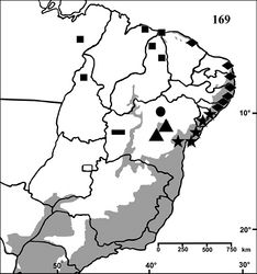 Figure 169. Map showing records of Iridopelma species in Northestern, Central western and Northern Brazil. Diamond = Iridopelma hirsutum Pocock, 1901, star = Iridopelma zorodes (Mello-Leitão, 1926), square = Iridopelma vanini sp. n., retangle = Iridopelma marcoi sp. n., triangle = Iridopelma katiae sp. n., circle = Typhochlaena oliveirai sp. n. The gray area represents the approximate original distribution of Brazilian Atlantic rainforest. White area represents open environments (cerrado and caatinga).