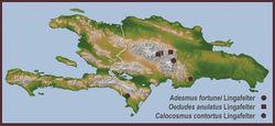 Map 1. Distributional locality records for new species of Hispaniolan Hemilophini.