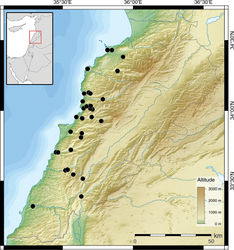 Figure 3. Distribution of Monacha (Monacha) syriaca.