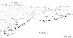Figure 11. Distribution map of Lyrosoma pallidum (solid square, 1–21) and Lyrosoma opacum (solid circle, 22–44). 1 Korea: Gangwon Prov.: Goseong, Sokcho 2 Russia: Chasan: Barabasch 3 Japan: Honshu: Aomori 4 Japan: Hokkaido: Hakodate 5 Japan: Hokkaido: Oshima 6 Japan: Hokkaido: Akkeshi, Nemuro 7 Japan: Hokkaido: Cape Nosappu 8 Japan: Hokkaido: Rishiri-to Island 9 Russia: Sakhalin: Pravda 10 Russia: Kurile Island Kunashir 11 Russia: Kurile Island Iturup 12 Russia: Kurile Island Urup 13 Russia: Kurile Island Cirpoi 14 Russia: Kurile Island Brouton 15 Russia: Kurile Island Simushir 16 Russia: Kurile Island Ketoi 17 Russia: Kurile Island Yanchika 18 Russia: Kurile Island Shumshu 19 Russia: Magadan 20 Russia: Kamchatka: Petropavlovsk 21 Russia: Petropavlovsk-Kamchatsky 22 Russia: Tairu nr Urup / Kurile Island Cirpoi 23 Russia: Kurile Island Ketoi 24 Russia: Kurile Island Yanchika 25 Russia: Kamchatka coast 26 Russia: Bering Island 27 United States: Attu Island 28 United States: Agattu Island 29 United States: Kiska Island 30 United States: Little Kiska 31 United States: Amchitka Island 32 United States: Amatignak Island 33 United States: Gareloi Island 34 United States: Ulak Island 35 United States: Kasatochi Island 36 United States: Atka Island 37 United States: St. Paul Island 38 United States: St. George Island 39 United States: Bogoslof Island 40 United States: Unalaska Island 41 United States: Rootok Island 42 United States: Chirikof Island 43 United States: Kodiak Island 44 United States: Afognak Island. Bold records: present study; others: previous distributional sites based on Hamilton 1894; Van Dyke 1921; Hatch 1938; Mroczkowski 1959; Shibata 1969; Nishikawa 1997; Schawaller 1998; Sikes and Slowik 2010.