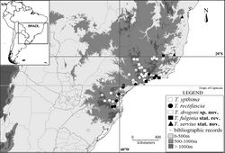 """Figure 8. Geographical distribution of the species in the """"Taygetis ypthima species group""""."""