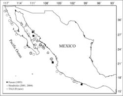 """Figure 1. Localities in the Mexican Pacific where Benthesicymus tanneri Faxon, 1893 has been collected, including the TALUD project sampling stations and the localities corresponding to the type material collected during the """"Albatross"""" cruises and used by Faxon (1893)[27]."""