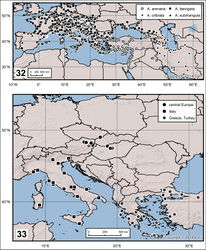 Figures 32–33. 32 Distribution of Ablattaria spp. in Western Palaearctic region 33 Delimitation and distribution of samples of Ablattaria laevigata used in geometric morphometrics.