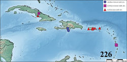 Figure 226. Map showing records of Caribena gen. n. and Antillena gen. n. ? = uncertain record.